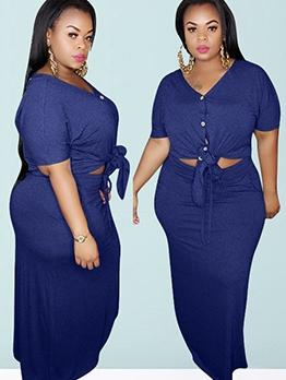 Plus Size Tie-Bow Solid 2 Piece Long Skirt Set
