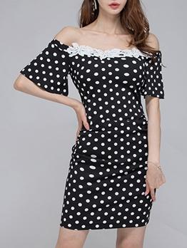 Polka Dots Off Shoulder Short Sleeve Dress