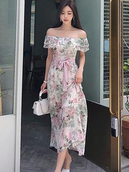 Fashion Off Shoulder Off Shoulder Midi Dresses