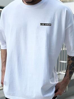Summer Letter Print Short Sleeve Mens Tee Shirts