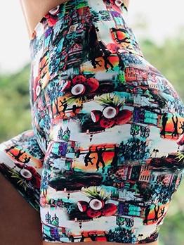 High Waist Printed Yoga Short Pants For Women
