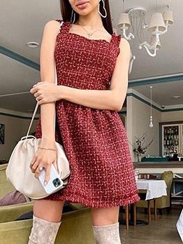 Trendy Tweed Backless Sleeveless Dresses