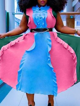 Contrast Color Stringy Selvedge Plus Size Dresses