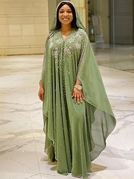 Faux Pear Decor Hooded Long Sleeve Maxi Dresses