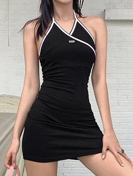 Contrast Trim V Neck Halter Dresses For Summer