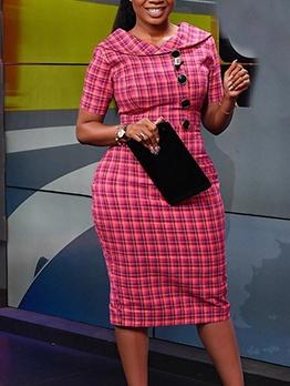 African Style Plaid Short Sleeve Bodycon Dress
