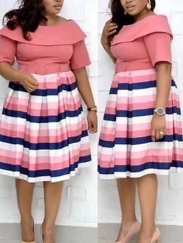Fashion Patchwork Striped Belted Short Sleeve Dress