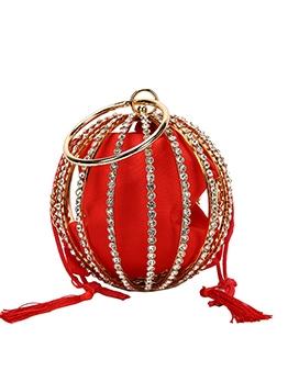Shiny Rhinestone Tassel Trendy Round Handbags