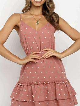Trendy Polka Dots Ruffled Summer Dresses