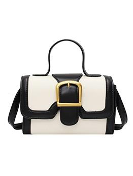 Stitching Color Metal Buckle Shoulder Bag With Handle