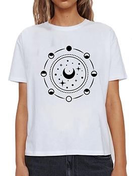 Sun And Star Print Casual Cheap T Shirt Plus Size