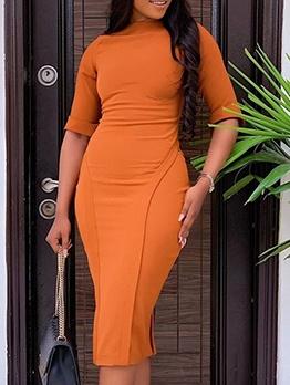 OL Style Solid Half Sleeve Ladies Dress