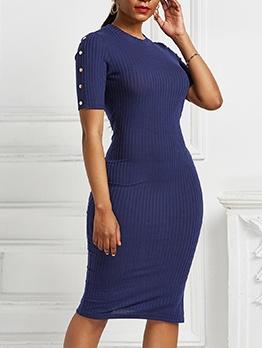 Side Button Decor Short Sleeve Bodycon Dress