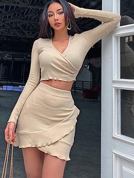 V Neck Ruffled Long Sleeve Two Piece Skirt Set