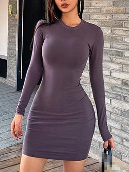 Crew Neck Solid Long Sleeve Bodycon Dress