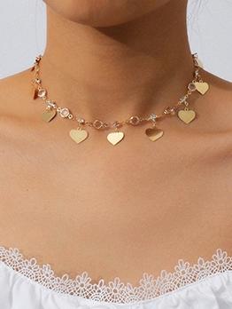 Temperament Heart Rhinestone Necklace For Women