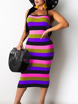 Contrast Color Striped Sleeveless Midi Dress