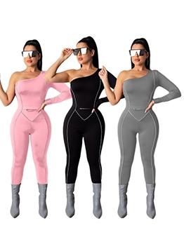 Solid One Shoulder Skinny Jumpsuits For Women