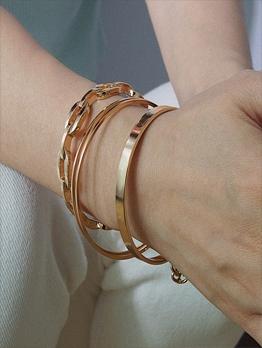 Geometric Chain Solid Women Bracelet Sets
