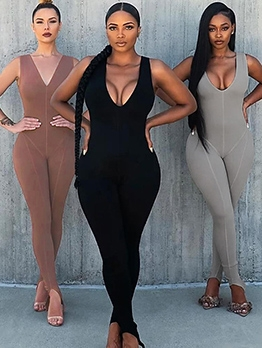 Sports Split Bottom V Neck Sleeveless Jumpsuit