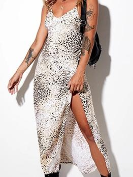 Split Hem Backless Snake Print Sexy Slip Dress