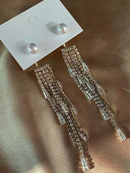 Sweet Faux Pearl Tassel Long Earrings For Women