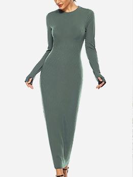 Casual Pure Color Long Sleeve Maxi Dress