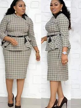 Formal Plus Size Plaid Two Piece Skirt Set