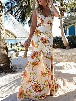 Vacation Printed v Neck Sleeveless Maxi Dress