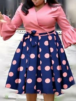 V Neck Polka Dots Patchwork Long Sleeve Dress