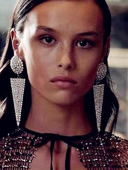 Round And Triangle Rhinestone Tassel Long Earrings