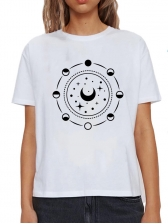 Sun And Star Print Casual T Shirt Plus Size