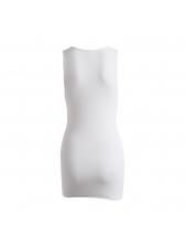 Plain White Notch Collar Sleeveless Short Dress