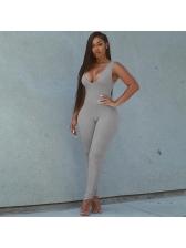 Sports Split Bottom V Neck Sleeveless Jumpsuit