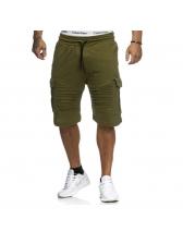 Solid Color Pocket Drawstring Half Pants