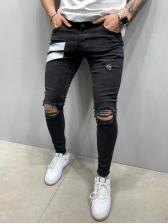 Fashion Black Men Skinny Ripped Jeans