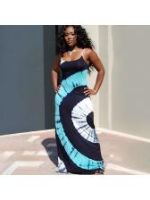 Beach Contrast Color Print Plus Size Maxi Dresses