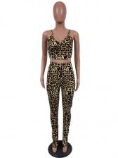 Leopard Print Skinny Two Piece Pants Set