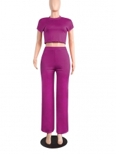 Casual Cropped Short Sleeve Top And Pants Set