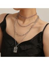 Hip Hop Pink Rhinestone Women Layered Necklaces
