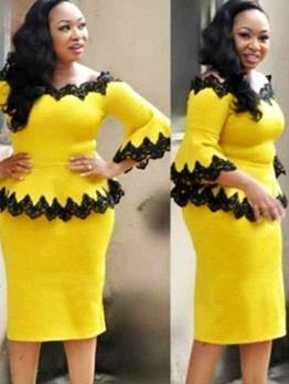 Lacework Frilled Off Shoulder Top And Skirt Set