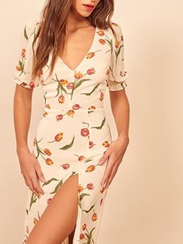 Vintage Flower Printed Slit Maxi Dress