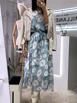 Casual Chiffon Flower Printed Long Sleeve Midi Dress
