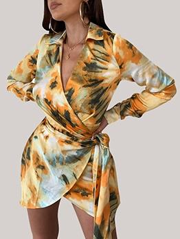 Seductive Deep v Tie Dye Long Sleeve Dress