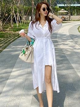 Graceful Solid Half Sleeve Shirt Midi Dress