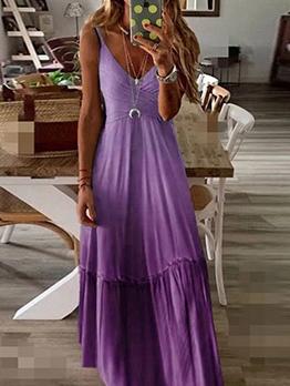 Gradient Color Large Hem Plus Size Maxi Dress