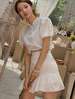 Stylish Solid Ruffled Two Piece Skirt Set