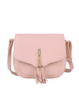 Tassel Pendant Solid Color Casual Crossbody Bags