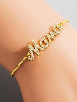 Creative Golden Letter Zircon Bracelets For Women