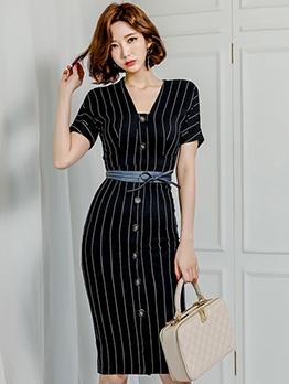 Elegant Single-Breasted Striped Split Ladies Dress